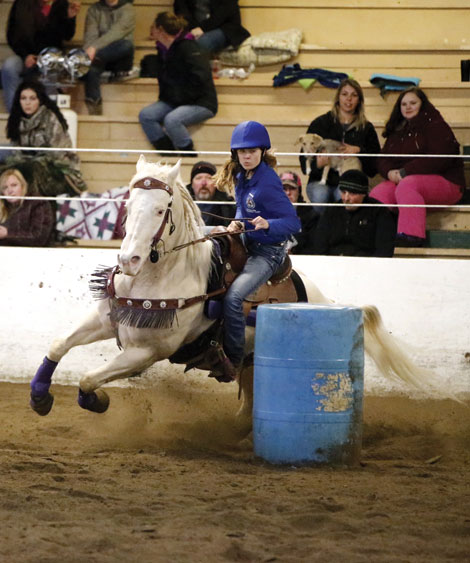 Kennedy Seroshek of Eatonville rides Stealer on a district record-setting barrel run during  a three-day high school equestrian meet in Spanaway. (Courtesy photo)