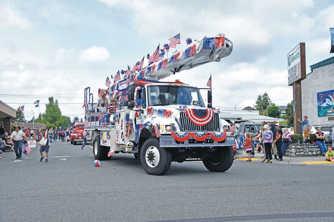 Star-spangled utility truck.