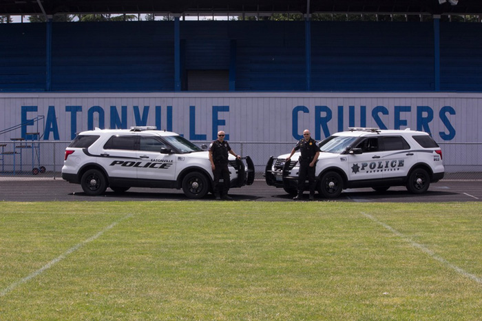 Eatonville officers show off their patrol vehicles. Photo provided