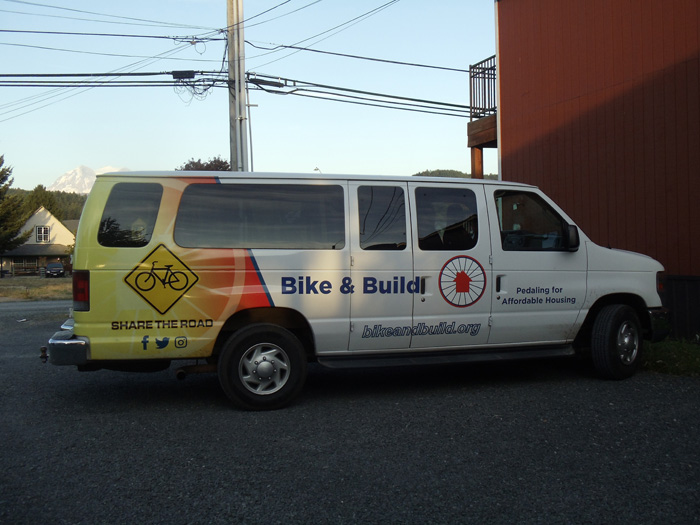 Photo provided: A van waits for the Bike & Build participants in order to take them up to Mount Rainier for some good, old-fashioned adventure.